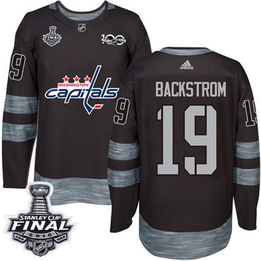 Adidas Capitals #19 Nicklas Backstrom Black 1917-2017 100th Anniversary 2018 Stanley Cup Final Stitched NHL Jersey