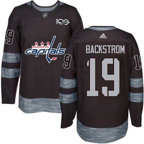 Adidas Capitals #19 Nicklas Backstrom Black 1917-2017 100th Anniversary Stitched NHL Jersey