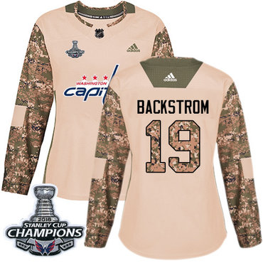 Adidas Capitals #19 Nicklas Backstrom Camo Authentic 2017 Veterans Day Stanley Cup Final Champions Women's Stitched NHL Jersey