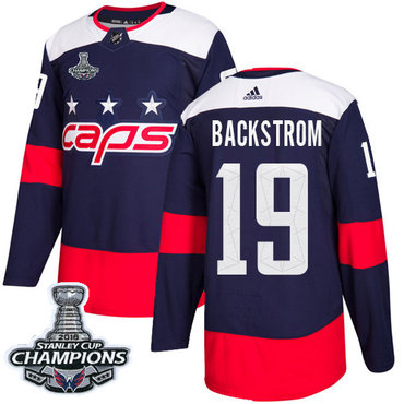 Adidas Capitals #19 Nicklas Backstrom Navy Authentic 2018 Stadium Series Stanley Cup Final Champions Stitched NHL Jersey