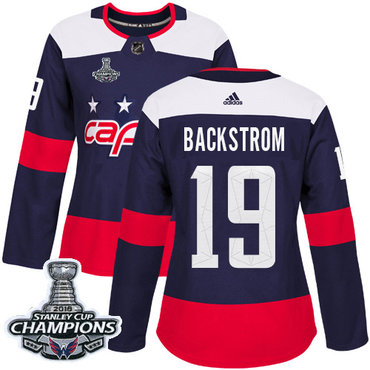 Adidas Capitals #19 Nicklas Backstrom Navy Authentic 2018 Stadium Series Stanley Cup Final Champions Women's Stitched NHL Jersey