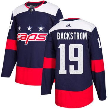 Adidas Capitals #19 Nicklas Backstrom Navy Authentic 2018 Stadium Series Stitched NHL Jersey