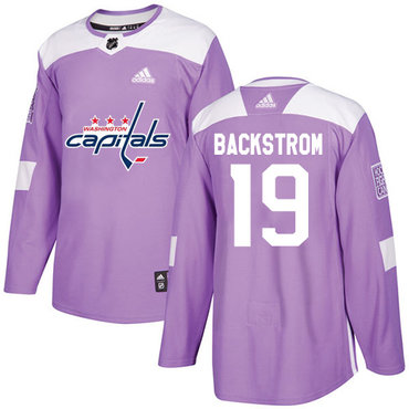Adidas Capitals #19 Nicklas Backstrom Purple Authentic Fights Cancer Stitched Youth NHL Jersey