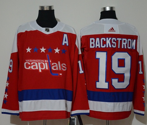 Adidas Capitals #19 Nicklas Backstrom Red Alternate Authentic Stitched NHL Jersey
