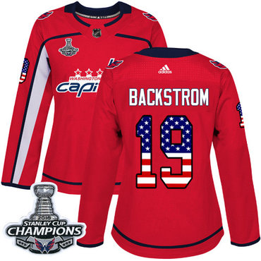 Adidas Capitals #19 Nicklas Backstrom Red Home Authentic USA Flag Stanley Cup Final Champions Women's Stitched NHL Jersey