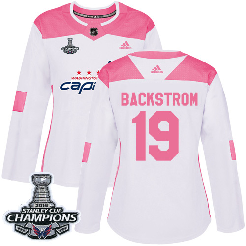 Adidas Capitals #19 Nicklas Backstrom White Pink Authentic Fashion Stanley Cup Final Champions Women's Stitched NHL Jersey