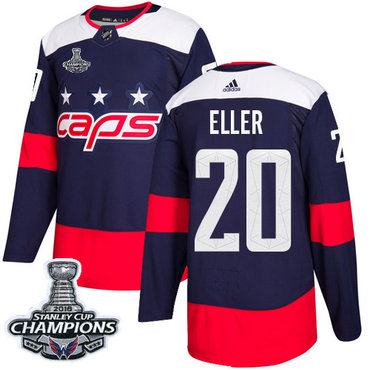 Adidas Capitals #20 Lars Eller Navy Authentic 2018 Stadium Series Stanley Cup Final Champions Stitched NHL Jersey
