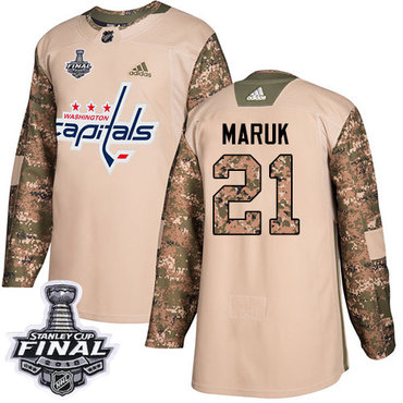 Adidas Capitals #21 Dennis Maruk Camo Authentic 2017 Veterans Day 2018 Stanley Cup Final Stitched NHL Jersey