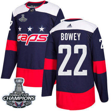 Adidas Capitals #22 Madison Bowey Navy Authentic 2018 Stadium Series Stanley Cup Final Champions Stitched NHL Jersey
