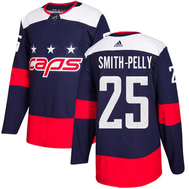Adidas Capitals #25 Devante Smith-Pelly Navy Authentic 2018 Stadium Series Stitched NHL Jersey