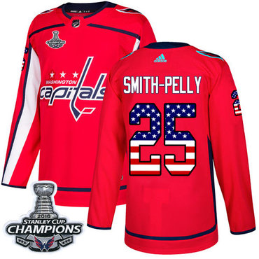 Adidas Capitals #25 Devante Smith-Pelly Red Home Authentic USA Flag Stanley Cup Final Champions Stitched NHL Jersey
