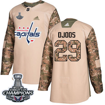 Adidas Capitals #29 Christian Djoos Camo Authentic 2017 Veterans Day Stanley Cup Final Champions Stitched NHL Jersey