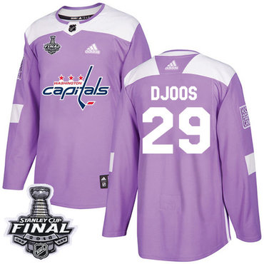 Adidas Capitals #29 Christian Djoos Purple Authentic Fights Cancer 2018 Stanley Cup Final Stitched NHL Jersey