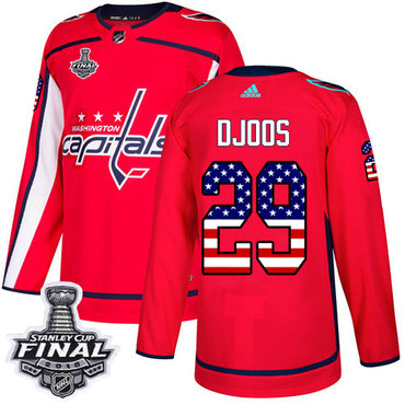 Adidas Capitals #29 Christian Djoos Red Home Authentic USA Flag 2018 Stanley Cup Final Stitched NHL Jersey