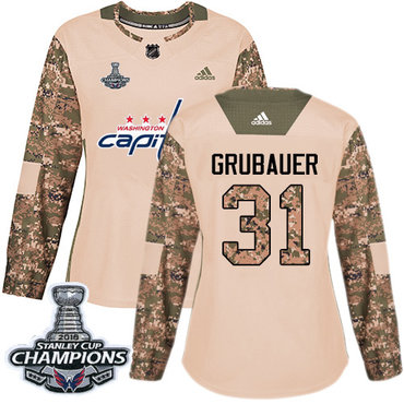 Adidas Capitals #31 Philipp Grubauer Camo Authentic 2017 Veterans Day Stanley Cup Final Champions Women's Stitched NHL Jersey