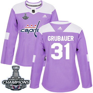 Adidas Capitals #31 Philipp Grubauer Purple Authentic Fights Cancer Stanley Cup Final Champions Women's Stitched NHL Jersey