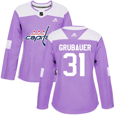 Adidas Capitals #31 Philipp Grubauer Purple Authentic Fights Cancer Women's Stitched NHL Jersey