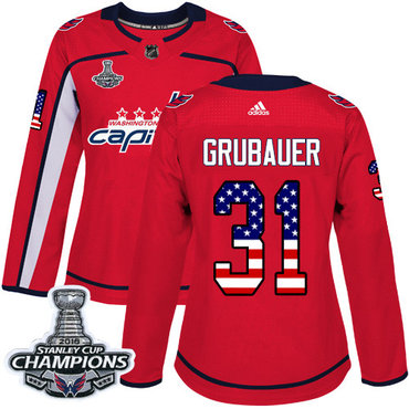 Adidas Capitals #31 Philipp Grubauer Red Home Authentic USA Flag Stanley Cup Final Champions Women's Stitched NHL Jersey