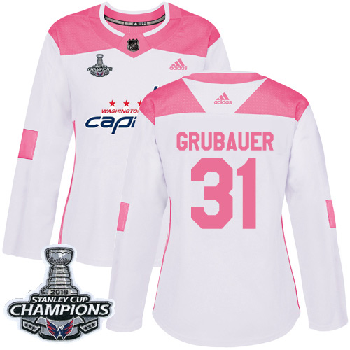 Adidas Capitals #31 Philipp Grubauer White Pink Authentic Fashion Stanley Cup Final Champions Women's Stitched NHL Jersey