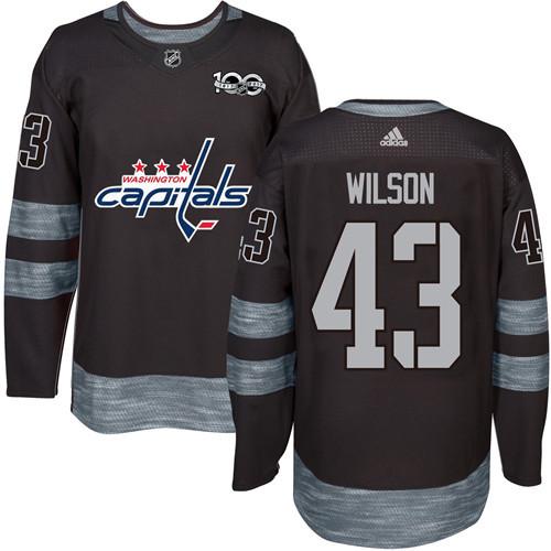 Adidas Capitals #43 Tom Wilson Black 1917-2017 100th Anniversary Stitched NHL Jersey