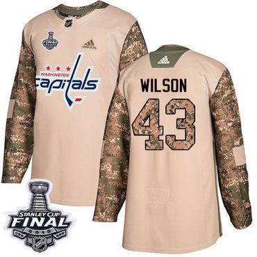 Adidas Capitals #43 Tom Wilson Camo Authentic 2017 Veterans Day 2018 Stanley Cup Final Stitched NHL Jersey
