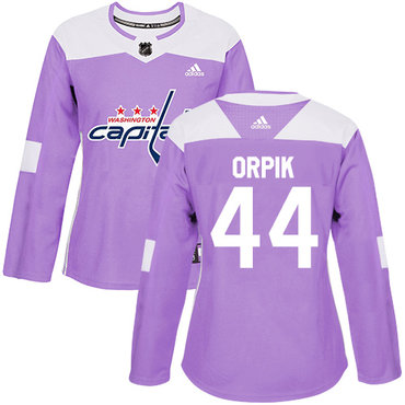 Adidas Capitals #44 Brooks Orpik Purple Authentic Fights Cancer Women's Stitched NHL Jersey