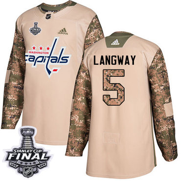 Adidas Capitals #5 Rod Langway Camo Authentic 2017 Veterans Day 2018 Stanley Cup Final Stitched NHL Jersey