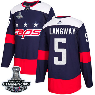 Adidas Capitals #5 Rod Langway Navy Authentic 2018 Stadium Series Stanley Cup Final Champions Stitched NHL Jersey