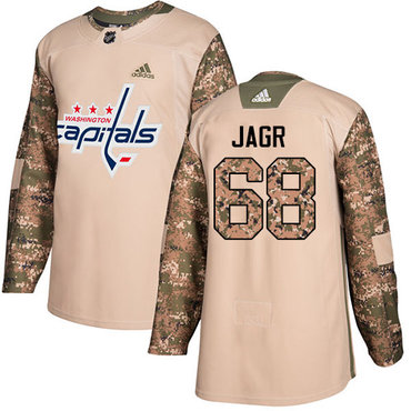 Adidas Capitals #68 Jaromir Jagr Camo Authentic 2017 Veterans Day Stitched NHL Jersey