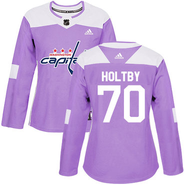 Adidas Capitals #70 Braden Holtby Purple Authentic Fights Cancer Women's Stitched NHL Jersey