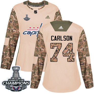 Adidas Capitals #74 John Carlson Camo Authentic 2017 Veterans Day Stanley Cup Final Champions Women's Stitched NHL Jersey