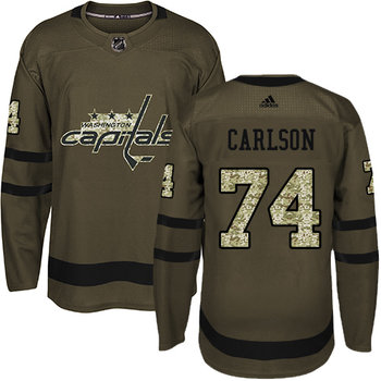 Adidas Capitals #74 John Carlson Green Salute to Service Stitched NHL Jersey