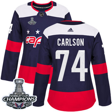Adidas Capitals #74 John Carlson Navy Authentic 2018 Stadium Series Stanley Cup Final Champions Women's Stitched NHL Jersey