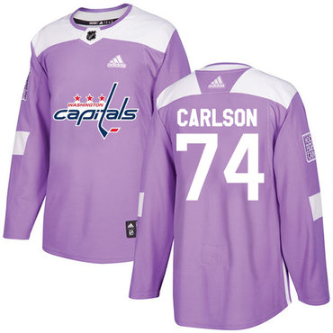 Adidas Capitals #74 John Carlson Purple Authentic Fights Cancer Stitched Youth NHL Jersey