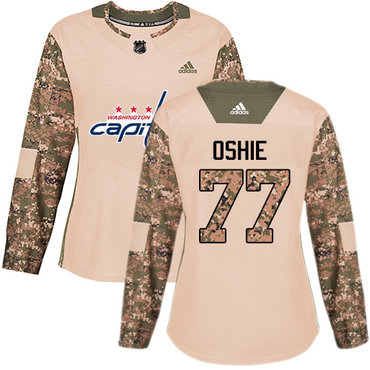 Adidas Capitals #77 T.J. Oshie Camo Authentic 2017 Veterans Day Women's Stitched NHL Jersey
