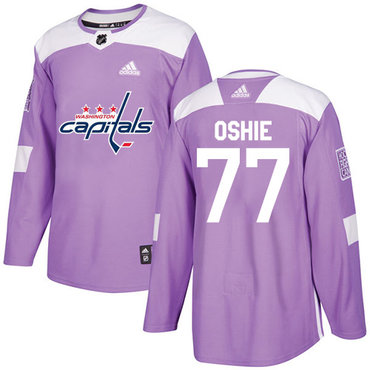 Adidas Capitals #77 T.J. Oshie Purple Authentic Fights Cancer Stitched Youth NHL Jersey