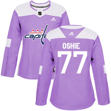 Adidas Capitals #77 T.J. Oshie Purple Authentic Fights Cancer Women's Stitched NHL Jersey