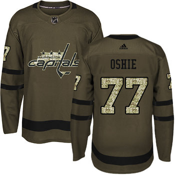 Adidas Capitals #77 T.J Oshie Green Salute to Service Stitched NHL Jersey
