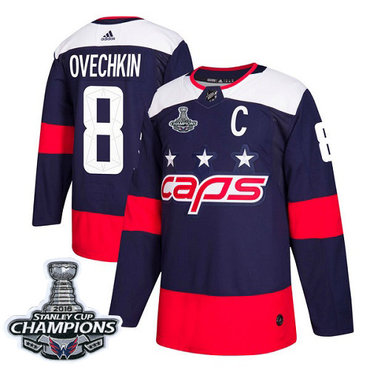 Adidas Capitals #8 Alex Ovechkin Navy Authentic 2018 Stadium Series Stanley Cup Final Champions Stitched NHL Jersey