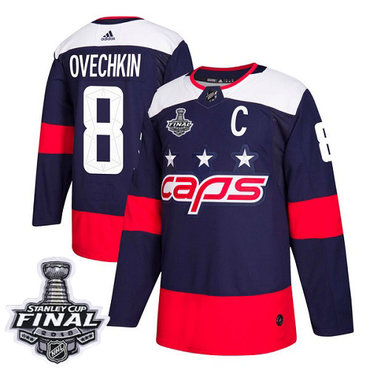 Adidas Capitals #8 Alex Ovechkin Navy Authentic 2018 Stadium Series Stanley Cup Final Stitched NHL Jersey