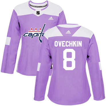 Adidas Capitals #8 Alex Ovechkin Purple Authentic Fights Cancer Women's Stitched NHL Jersey