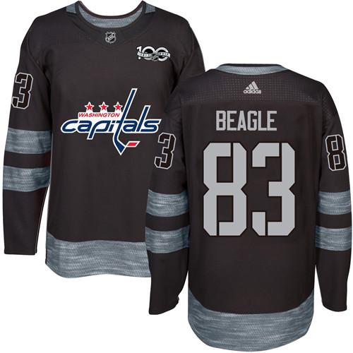 Adidas Capitals #83 Jay Beagle Black 1917-2017 100th Anniversary Stitched NHL Jersey