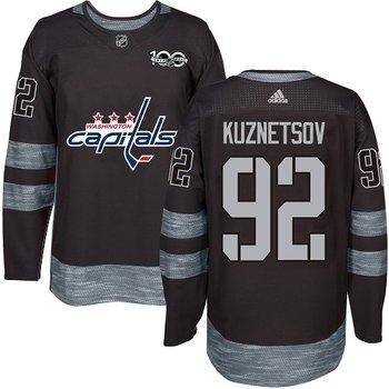 Adidas Capitals #92 Evgeny Kuznetsov Black 1917-2017 100th Anniversary Stitched NHL Jersey