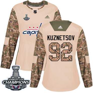 Adidas Capitals #92 Evgeny Kuznetsov Camo Authentic 2017 Veterans Day Stanley Cup Final Champions Women's Stitched NHL Jersey