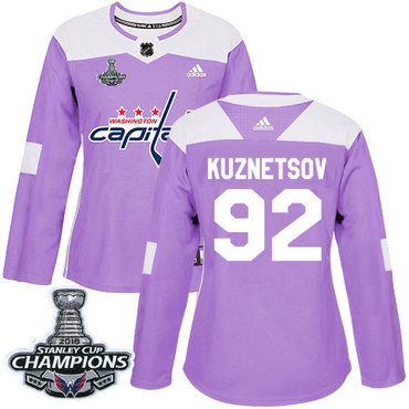 Adidas Capitals #92 Evgeny Kuznetsov Purple Authentic Fights Cancer Stanley Cup Final Champions Women's Stitched NHL Jersey