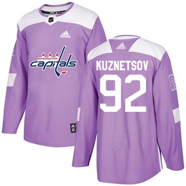 Adidas Capitals #92 Evgeny Kuznetsov Purple Authentic Fights Cancer Stitched Youth NHL Jersey