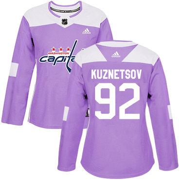 Adidas Capitals #92 Evgeny Kuznetsov Purple Authentic Fights Cancer Women's Stitched NHL Jersey