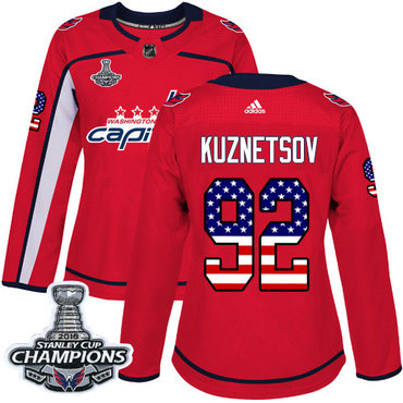 Adidas Capitals #92 Evgeny Kuznetsov Red Home Authentic USA Flag Stanley Cup Final Champions Women's Stitched NHL Jersey