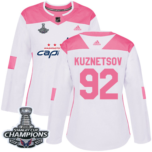 Adidas Capitals #92 Evgeny Kuznetsov White Pink Authentic Fashion Stanley Cup Final Champions Women's Stitched NHL Jersey