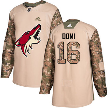 Adidas Coyotes #16 Max Domi Camo Authentic 2017 Veterans Day Stitched Youth NHL Jersey
